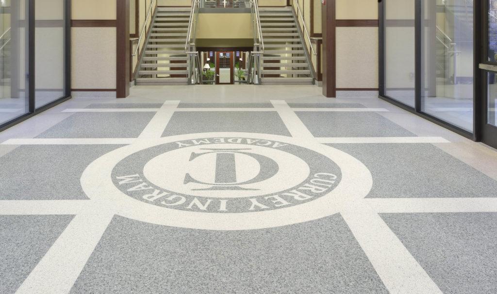 terrazzo flooring design currey ingram academy school corridor