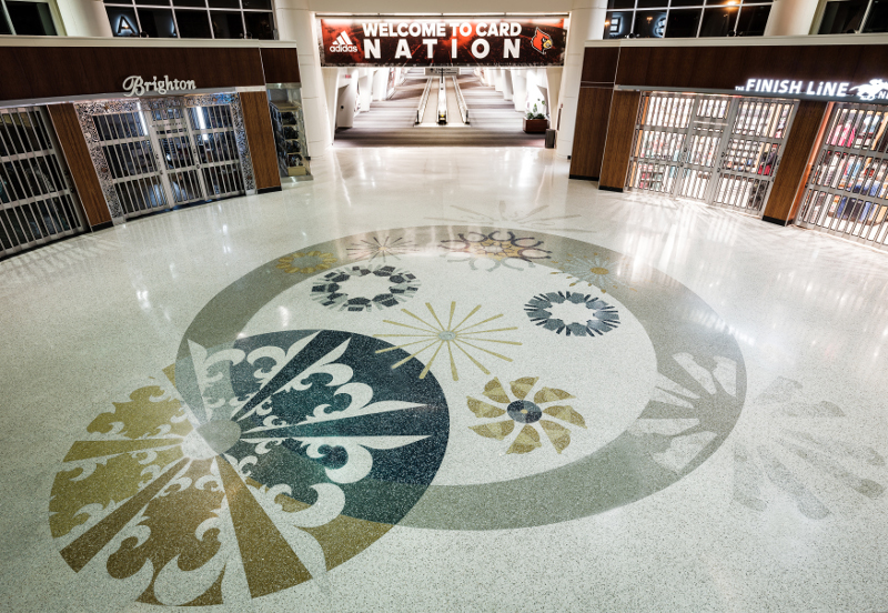 Louisville airport terrazzo pattern by the airport shops