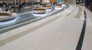 Gerald R. Ford International Airport terrazzo floor design at the security checkpoint from NCTA